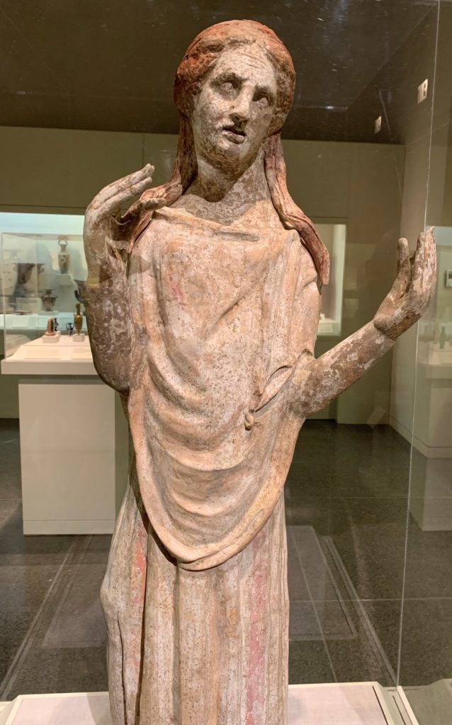 """Mourning Woman,"" South Italian, Canosan, 3rd century BC, The San Antonio Museum of Art. Photograph by Margaret Chisolm."