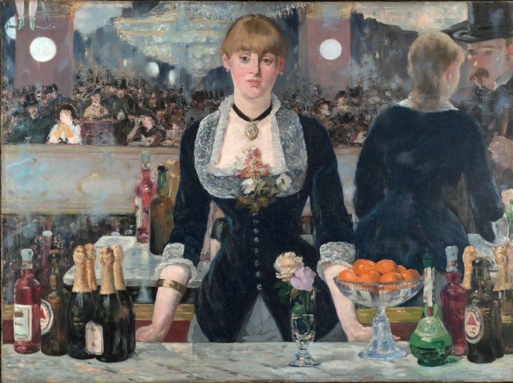 "Édouard Manet: ""A Bar at the Folies-Bergère,"" 1881-1882. This is a faithful photographic reproduction of a two-dimensional, public domain work of art. The work of art itself is in the public domain for the following reason: Public domain This work is in the public domain in its country of origin and other countries and areas where the copyright term is the author's life plus 100 years or less."