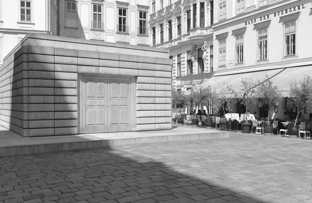 The Holocaust Memorial, Judenplatz. Vienna, Austria. Photograph by Flora Smyth Zahra