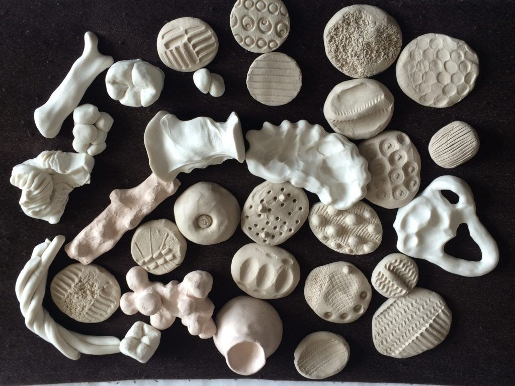 Selection of ceramic and clay objects used to explore haptic perception and ambiguity made by students from King's Dentistry and Central St Martins College of Art and Design. Photo by Flora Smyth Zahra.