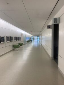 The empty hospital hallway during the pandemic. Photo copyright with the authors.