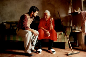 doctor listening to an old woman